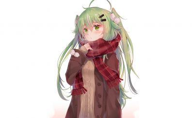 Cute anime girl, green hair, minimal