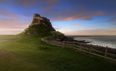 Landscape, wooden fence, coast, castle, 4k