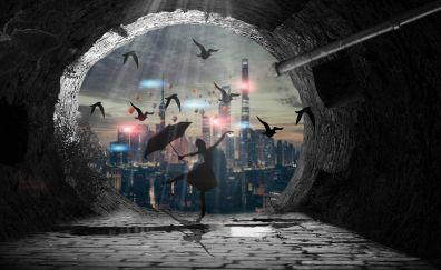 Girl dancing with umbrella, birds, artwork