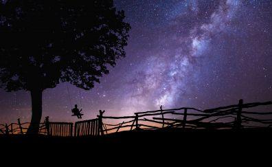Swing, tree, the stars in the sky, milky way, 4k