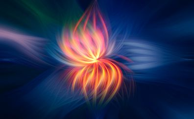 Glowing lines, floral pattern, abstract, digital art
