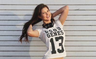 Amanda cerny, smiling, actress, brunette, 4k
