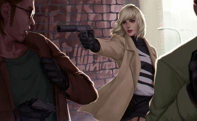 Atomic blonde, movie, gun, fan art, 5k
