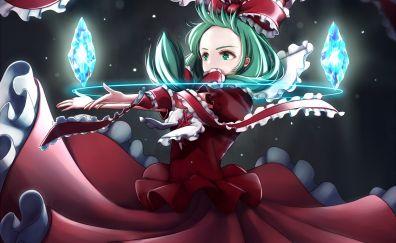 Red dress, Hina Kagiyama, Touhou, anime girl