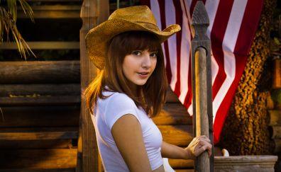 Lena Anderson, looking back, model, hat