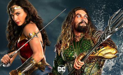 Aquaman, gal gadot, jason momoa, wonder woman, justice league, movie, 2017