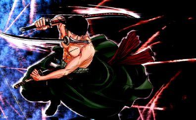 One piece, anime boy, art, katana, zoro roronoa