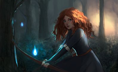 Merida, red head princess, brave, movie, art