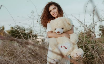 Red head, girl model, outdoor, teddy bear