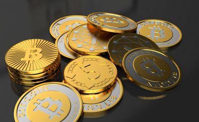 Coins, bitcoin, 4k