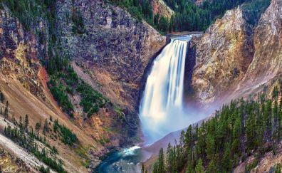 Yellowstone falls, waterfall, national park, nature, 4k
