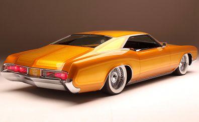 Orange car, Buick Riviera, rear view