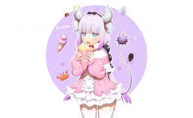 Cute anime, eating, Kanna Kamui, Kobayashi-san Chi no Maid Dragon