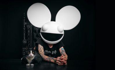 deadmau5, 4k, tattoo, cat, music, 2017