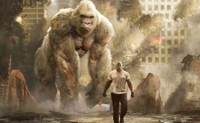 Rampage, 2018 movie Dwayne Johnson, giant gorilla
