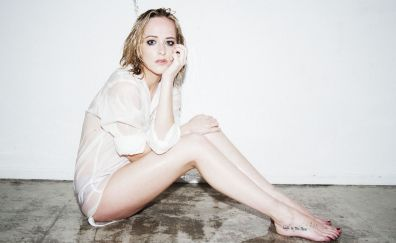 Dakota Johnson, short white top, model, 4k