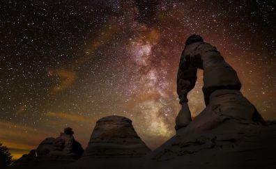 Arch, night, stars, nature, milky way