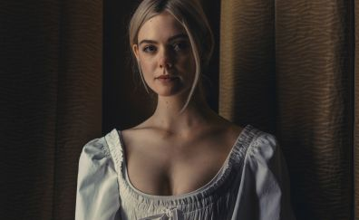 Elle fanning, white dress, actress