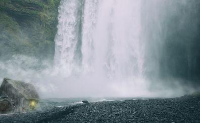 Waterfall, hut, nature, 4k