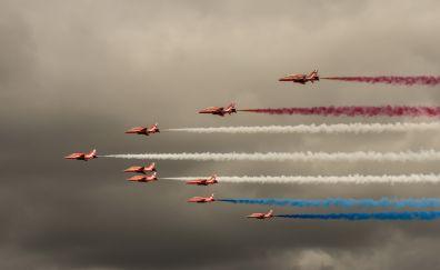 Air show, aircraft, smoke, sky