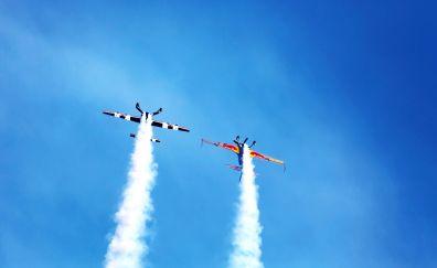 Airplanes, plane, air show, smoke