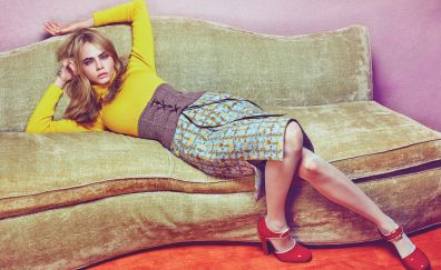 Cara delevingne, model, lying down, actress, sofa