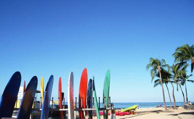 Surfing board beach