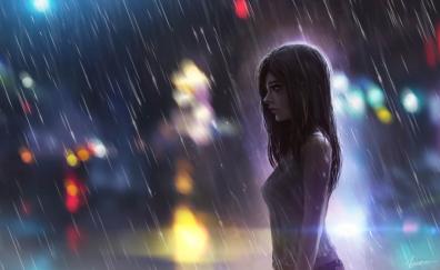 Rain, girl, enjoying rain, artwork