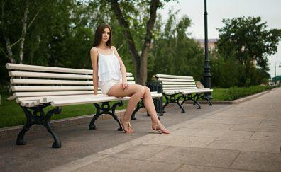 White cloths, bench, garden, girl model, beautiful