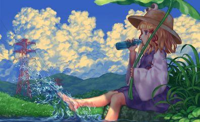 Touhou, Suwako Moriya, holiday, drinking water, anime girl