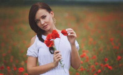 Poppy field, white dress, girl model, outdoor