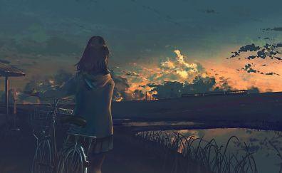With bicycle, anime girl, sunset, original