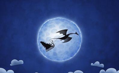 Dragon, moon, santa claus, digital art
