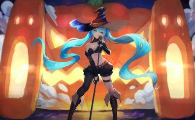 Halloween, anime girl, Hatsune Miku, 4k