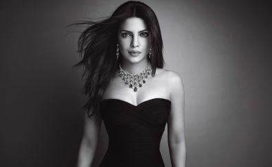 Priyanka Chopra, Indian actress, necklace, monochrome
