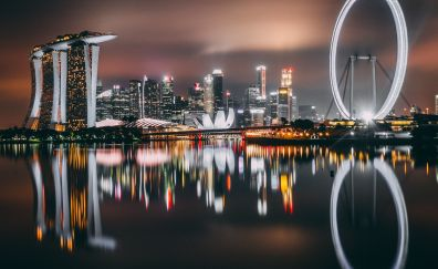 Singapore, city, skyscrapers, buildings, night, lights, reflections, 4k