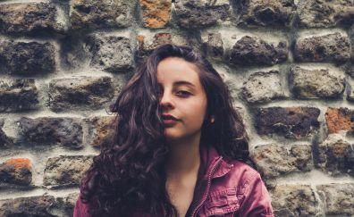 Stone wall, girl, freedom, model