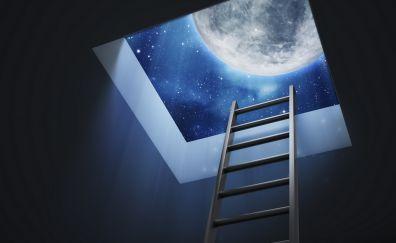 Digital artwork ladder and space