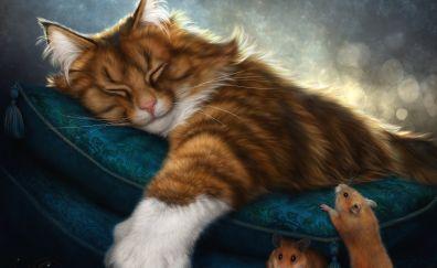 Cat, mouse, artwork