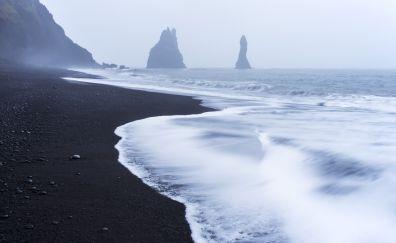 Beach, black sand, mountains, nature