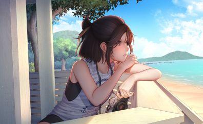 Original, anime girl, summer, beach