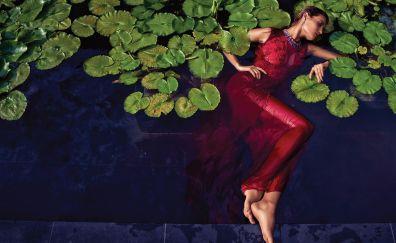 Water, lying down, girl model, leaf