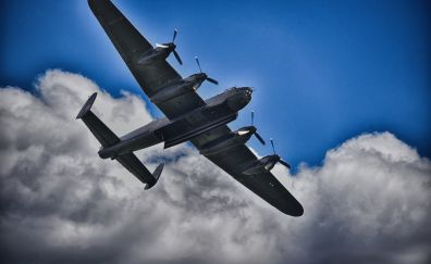 Lancaster bomber, Avro Lancaster, military aircraft, clouds, 5k