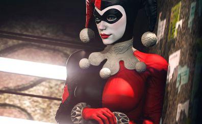 Harley quinn, joker's costume, video game, 4k
