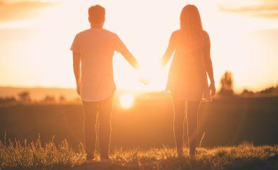 Couple, love, sunset