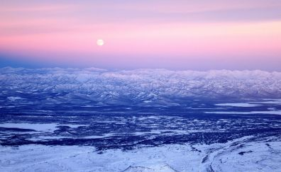 Volcano, mountains, nature, pink sunset
