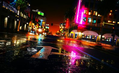 Roads, city, night, Grand Theft Auto V, 2013 game