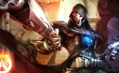 Overwatch, gun, artwork, reaper