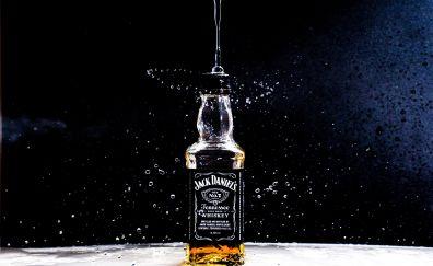 Jack daniel's, bottle, drinks, alcohol, 4k