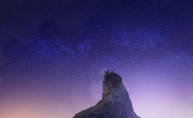 Castle, architecture, hill, night, stars